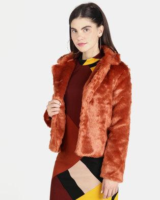 52df4aa59 London Hub Fashion Faux Fur Cropped Coat Rust