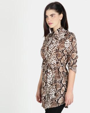 e7774049f7f London Hub Fashion Snake Print Self Belt Shirt Dress Multi