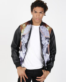 Soul Star Wolfain Printed Pleather Bomber Multi