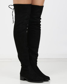 London Hub Fashion Over the Knee Boot Black