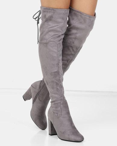 b07f232e97f London Hub Fashion Block Heel Over the Knee Boot Grey