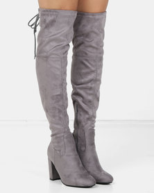 London Hub Fashion Block Heel Over the Knee Boot Grey