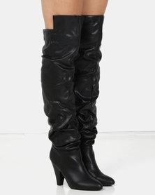 London Hub Fashion Slouch Boot Black