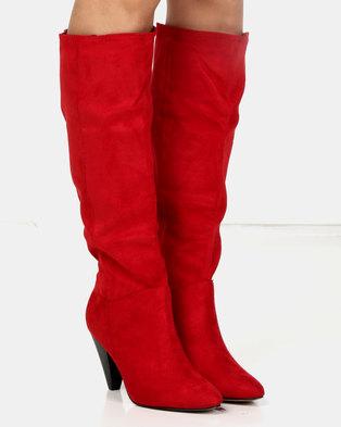 a983793a7a12 London Hub Fashion Cone Heel Long Boot Red