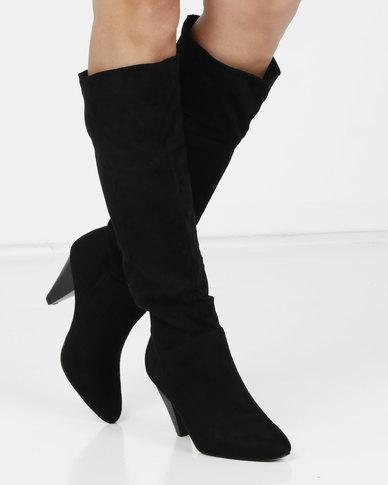 0803bfa127a0 London Hub Fashion Cone Heel Long Boot Black