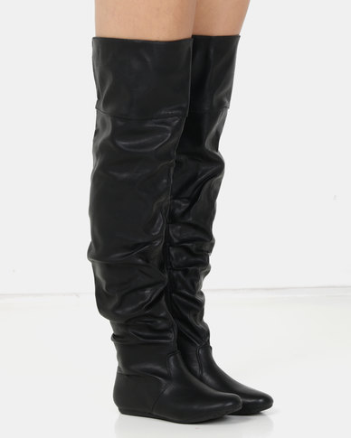 London Hub Fashion Flat Slouch Boot Black