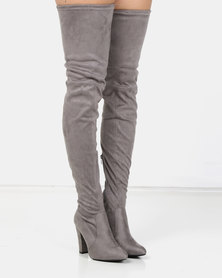 London Hub Fashion Long Heeled Boot Grey Micro