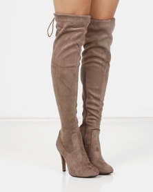 London Hub Fashion Classic Long Heeled Boot Taupe