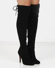 London Hub Fashion Classic Long Heeled Boot Black