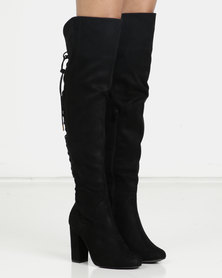 London Hub Fashion Lace Up Detail Heeled Boot Black