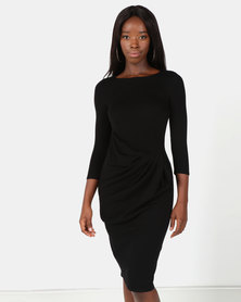 City Goddess London Drape Bow Midi Dress Black