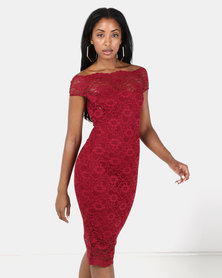 City Goddess London Bardot Lace Midi Dress Wine