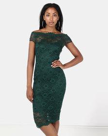 City Goddess London Bardot Lace Midi Dress Emerald