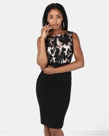 City Goddess London Sequin Embellished Midi Dress Black