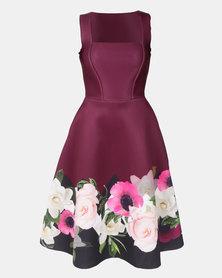 City Goddess London Floral Hem Midi Dress Purple