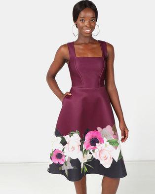 b75741538cbf City Goddess London Floral Hem Midi Dress Purple