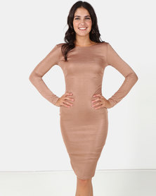 City Goddess London Long Sleeved Fitted Midi Dress with Zip Detail Tan