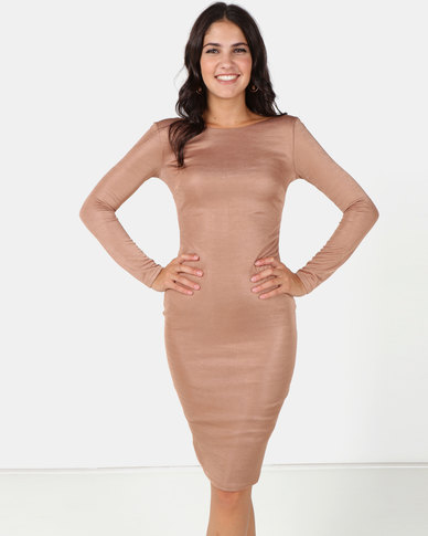abcdefc162c8 City Goddess London Long Sleeved Fitted Midi Dress with Zip Detail Tan