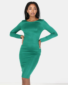 City Goddess London Long Sleeved Fitted Midi Dress with Zip Detail Emerald