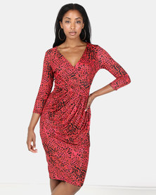 City Goddess London Animal Print Wrap Midi Dress Red