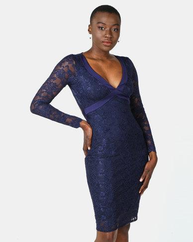 City Goddess London Lace Open Back Midi Dress Navy