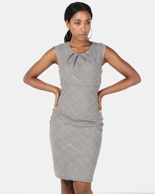 City Goddess London Pleated Neckline Cap Sleeve Midi Dress Grey