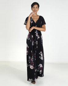 City Goddess London Silky Chiffon Deep V Neck Butterfly Sleeve Maxi Black