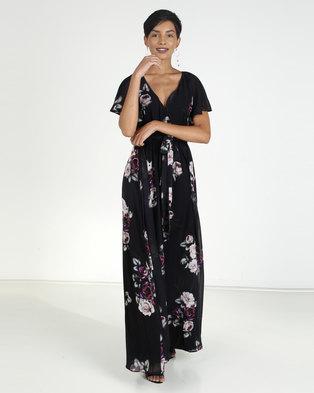 1ad439d98105 City Goddess London Silky Chiffon Deep V Neck Butterfly Sleeve Maxi Black