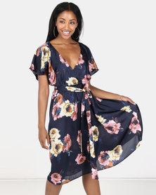 City Goddess London Floral Print Faux Wrap Midi Dress with Flutter Sleeves Navy