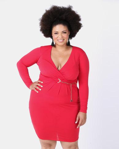 City Goddess London Plus Size Chain Belt Wrap Dress Red