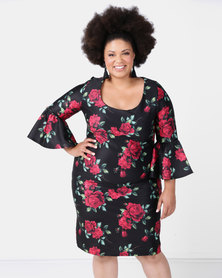 City Goddess London Plus Size Floral Print Bell Sleeve Midi Dress Multi