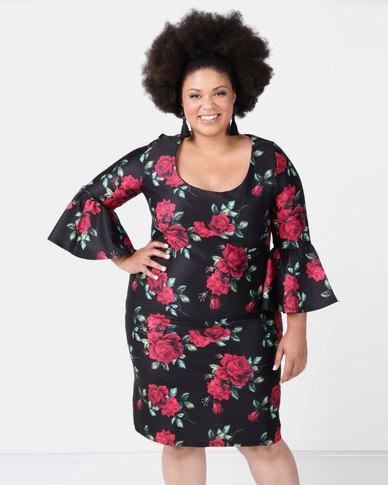 City Goddess London Plus Size Floral Print Bell Sleeve Midi Dress Multi