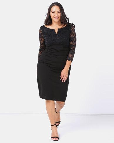 City Goddess London Plus Size Lace Top Midi Dress Black