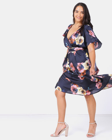 City Goddess London Plus Size Floral Print Faux Wrap Midi Dress with Flutter Sleeves Navy