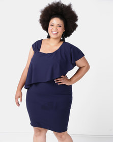 City Goddess London Plus Size One Shoulder Frilled Midi Dress Navy