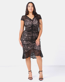 City Goddess London Plus Size V Neck Lace Midi Dress with Frilled Hem Black