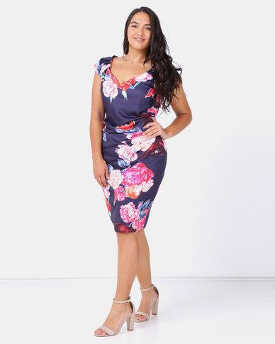 City Goddess London Plus Size Sweetheart Neckline Floral Midi Dress Navy