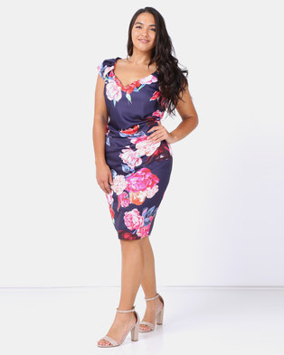 52f8e51d3c8a City Goddess London Plus Size Sweetheart Neckline Floral Midi Dress Navy