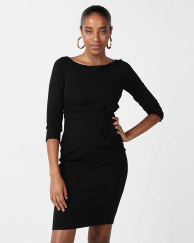 City Goddess London Three Quarter Sleeve Midi Dress with Waist Bow Black