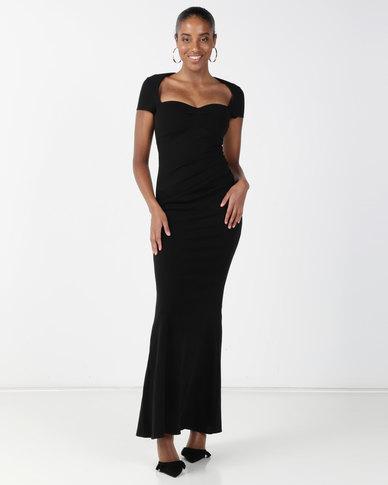 City Goddess London Sweetheart Neck Maxi Dress Black