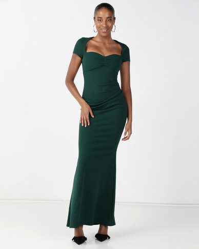 City Goddess London Sweetheart Neck Maxi Dress Green