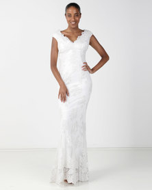 City Goddess London Off The Shoulder Embroidered Lace Wedding Maxi Dress Cream