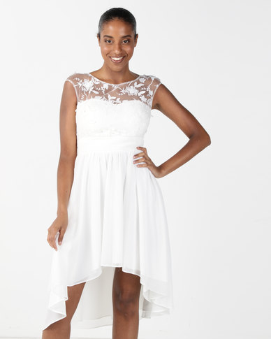 City Goddess London High Low Chiffon Skater Dress with Floral Detail