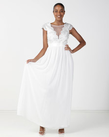 City Goddess London Embroidered Bodice Wedding Maxi Dress with Cap Sleeves Cream