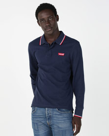 Levi's® Long Sleeve Housemark Polo Blue