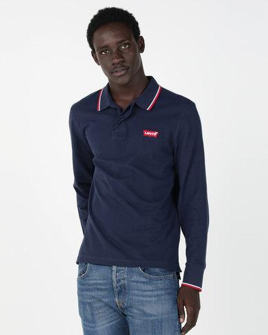 Levi's® Long Sleeve Housemark Polo Blue