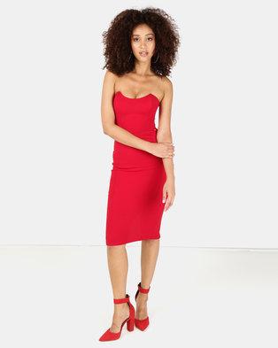 Sissy Boy Boobtube Bodycon Midi Dress Red 6ebd99836
