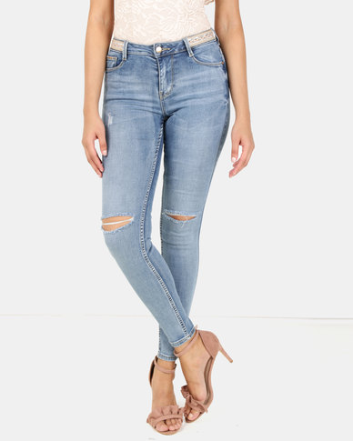 Sissy Boy Axel Mid-Rise With Waistband Trim Skinny Jeans Light Blue