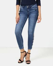 Sissy Boy Jon Jon Low-Rise Side Lace up Detail Skinny Jeans Med Blue