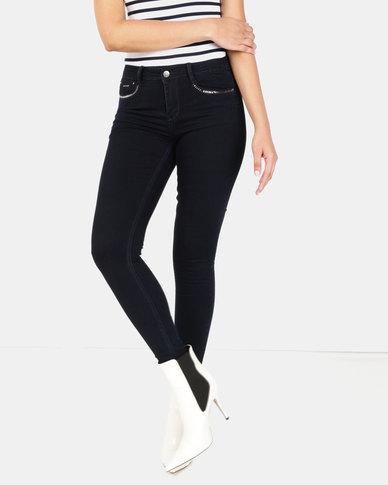 Sissy Boy Axel Mid-Rise Pocket Bling Skinny Jeans Blue/Black